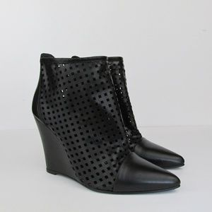 Sandro | Audace Perforated Leather Wedge Boots 39